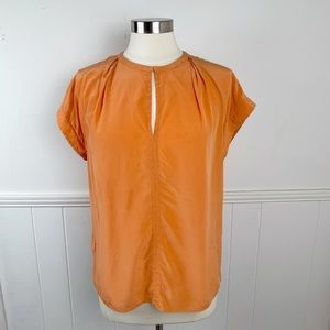 Tommy Bahama Orange 100% Silk Top Small